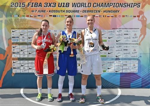 Mondial 3x3 U18 2015_Podium concours de meneuses_FIBA