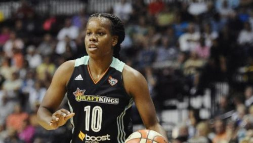 New York Liberty's Epiphanny Prince during a WNBA basketball game, Friday, Aug. 14, 2015, in Uncasville, Conn. (AP Photo/Jessica Hill)