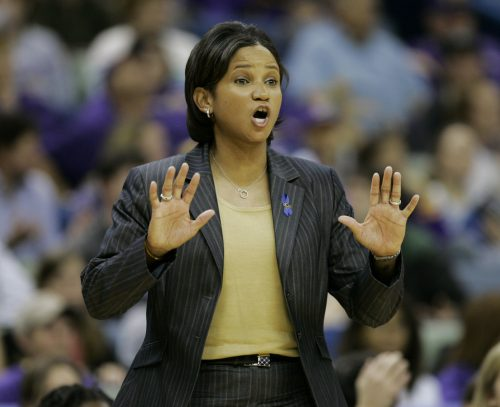 Louisiana State women's basketball coach Pokey Chatman directs her team during the second half of their game with Louisiana Tech in New Orleans, Saturday, Dec. 30, 2006. LSU won 61-44.(AP Photo/Alex Brandon)